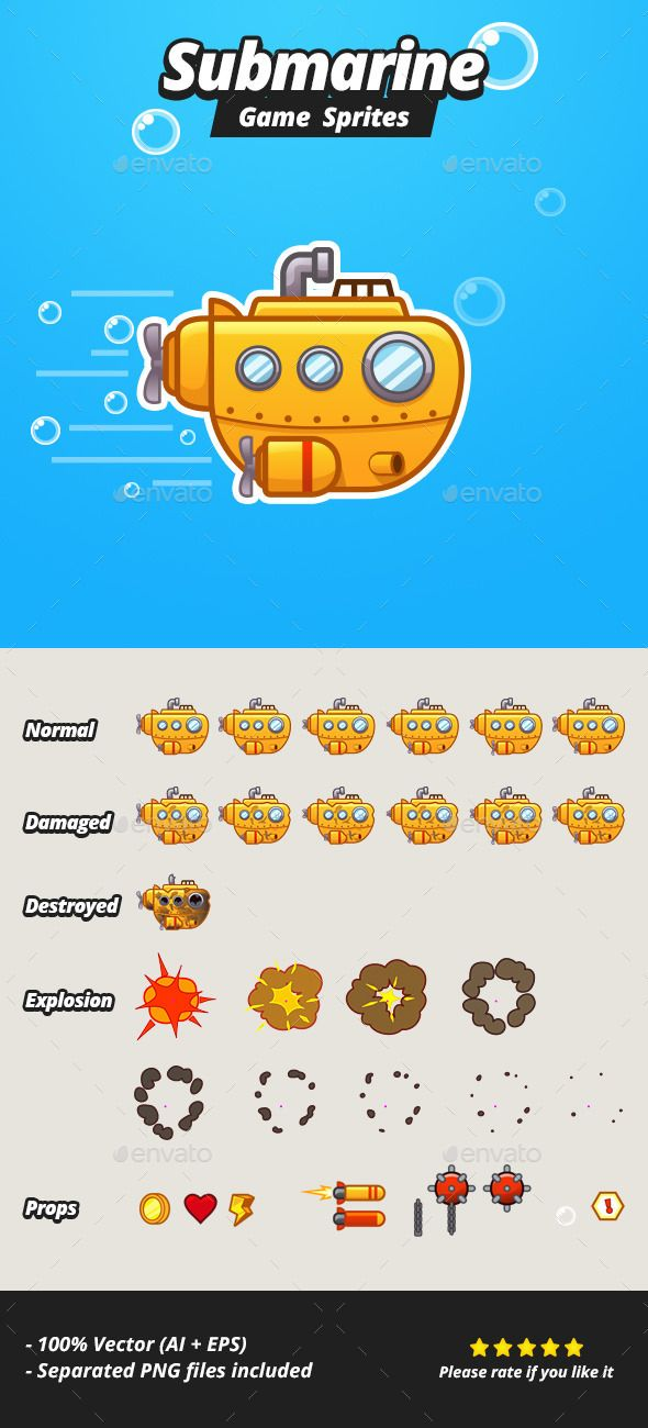 Submarine Game Sprites — Vector EPS #android #ios • Available here → https://graphicriver.net/item/submarine-game-sprites/10440713?ref=pxcr