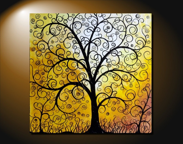 Large Abstract Fantasy Tree Of Life Painting Contemporary Art Canvas Vivid Colorful Pastel Colors Over The Bed Nursery 24x30 JMichael