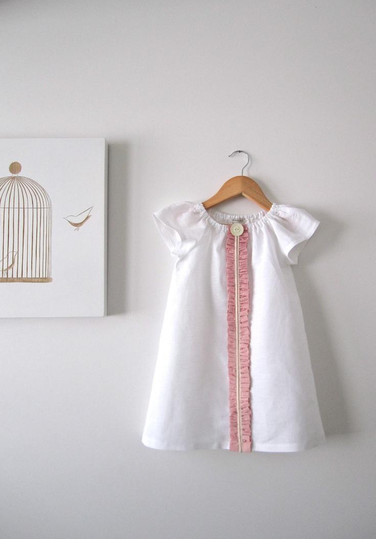 Girls White Linen Dress Ruffled Trim Vintage Button Baby