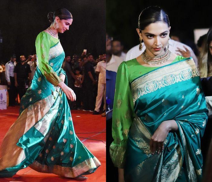 Here Is An Unexpected Way To Style Green Silk Saree Keep Me Stylish Deepika Padukone Saree Stylish Sarees Saree Look