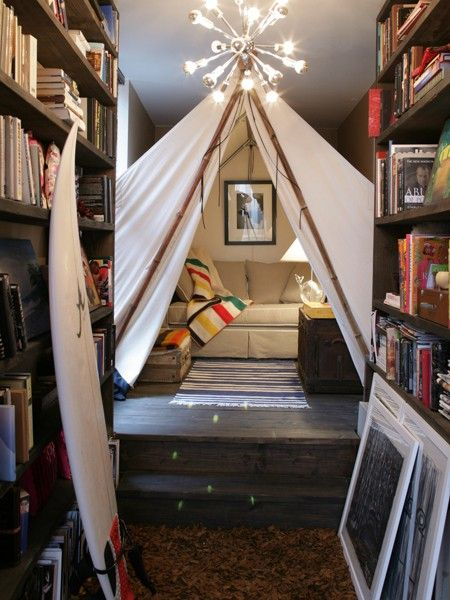 have a seat, read a book: Living Rooms, Idea, Home Libraries, Strong, Indoor Tent, Reading Nooks, Books Nooks, House, Kid