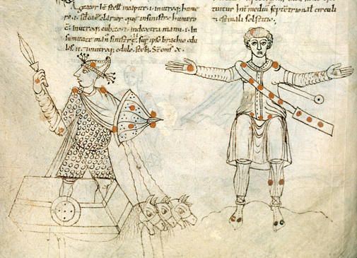 Illustrations depicting 10-11th Century French Costume & Soldiers from Dijon - Bibliothèque Municipale - ms. 448 Recueil d'astronomie, c.1000AD, France The Constellations Auriga & Cepheus