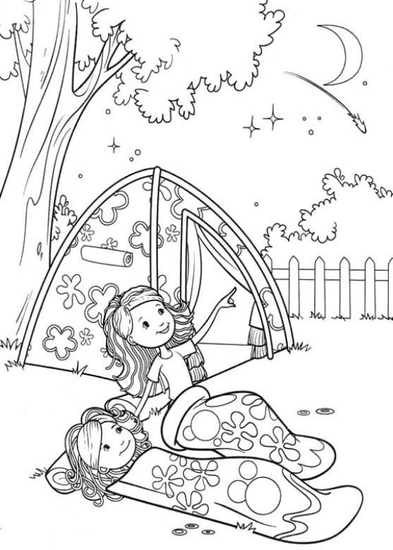 girl scout camping coloring pages groovy girls camp ...