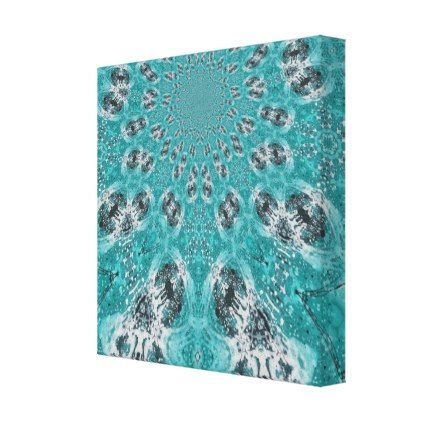 Bright Teal Canvas Fractal - patterns pattern special unique design gift idea diy