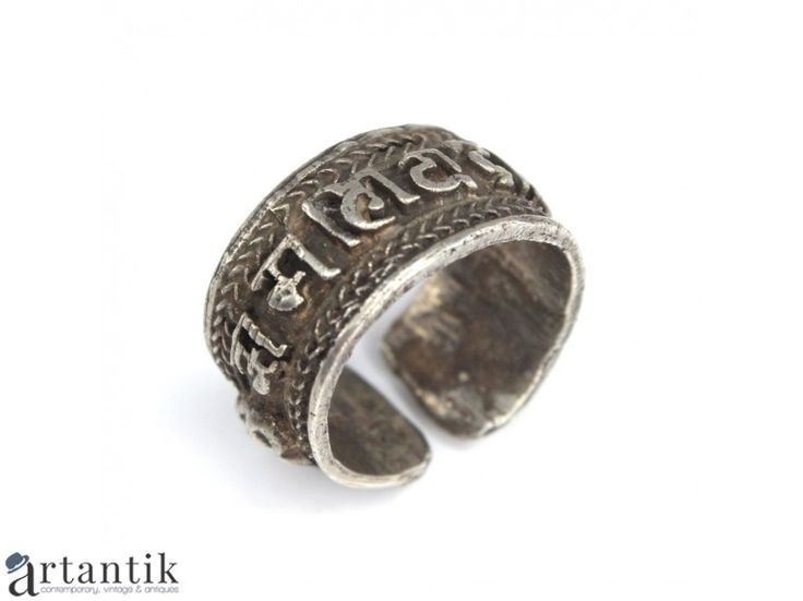 Inel-amuleta tibetan - mantra Om Mani Padme Hum - manufactura in argint