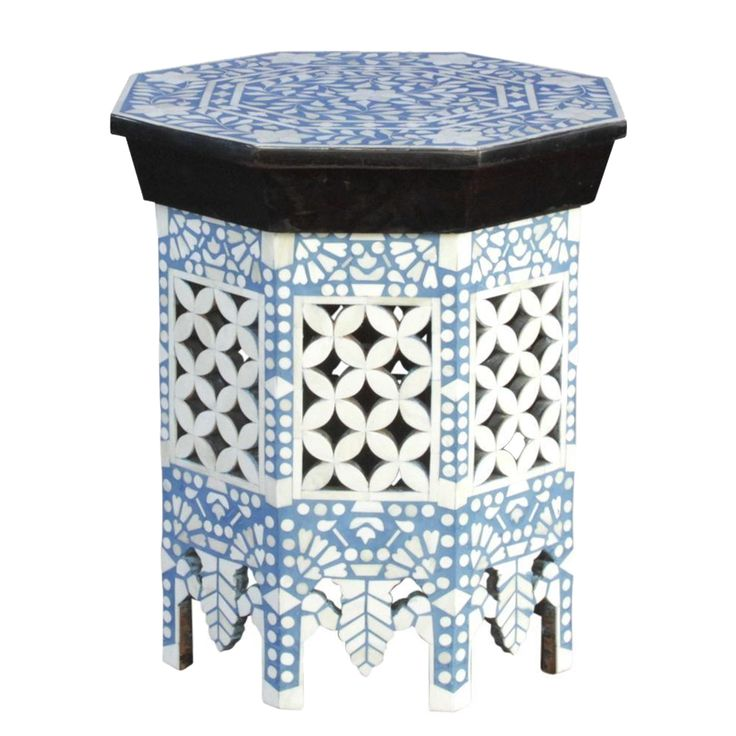 Moorish Sky Blue & White Bone Inlay Table on Chairish.com