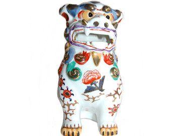 Perro chino Foo Vintage arte asiático guarda León estatuilla artes decorativas clásico modernista porcelana perro estatua coleccionables