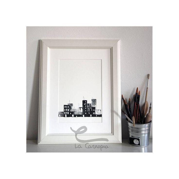 Quiero compartir lo último que he añadido a mi tienda de #etsy: Lámina Skyline, Lámina decorativa, Papel Acuarela, A4, Slyline blanco y negro, personalizada http://etsy.me/2nMOLgs #articulosdelhogar #decoraciondelhogar #negro #recibidor #blanco #impresionygrabado #lam
