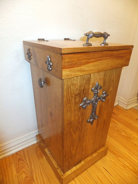 30 gallon Wood Trash Can via Etsy Woodworking