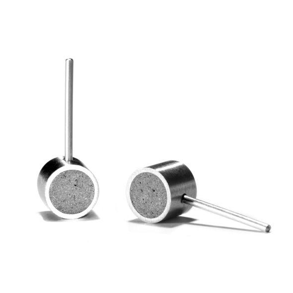KONZUK concrete and stainless earrings KME179