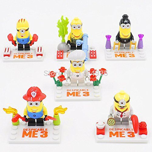 6 Piece size 1.8 inches 4.5 cm Despicable Me Minions Dave Stuart Minifigurs no orignial boxnew in s @ niftywarehouse.com #NiftyWarehouse #DespicableMe #Movie #Minions #Movies #Minion #Animated #Kids