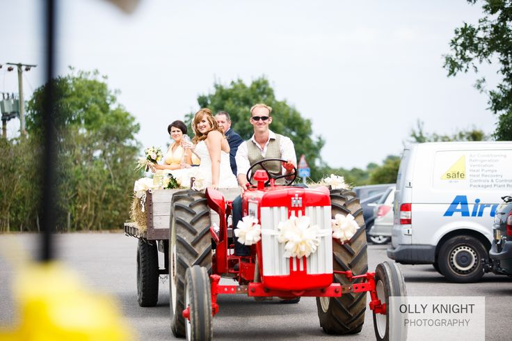 Suprise Tractor Arrival for the Bride! Copyright www.ollyknightphotography.co.uk www.theferryhouseinn.co.uk