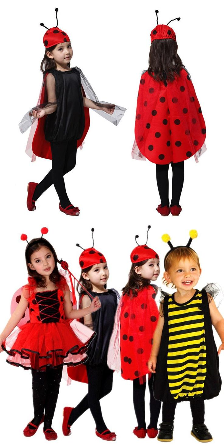 Free Shipping Kids Ladybug Fancy Dress Costumes Children Girls Bee Fairy Cosplay Clothes for Carnival Halloween Masquerade