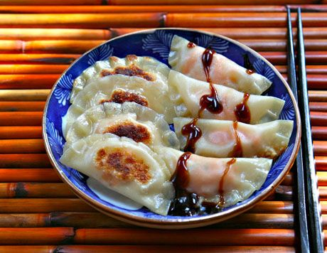 """Sweet potato and apple potstickers by The Perfect Pantry."" Yum - I have to learn how to make potstickers!"