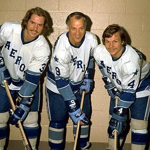 "Legendary Lines & Linemates -  ""Sons Marty and Mark flank father Gordie Howe  during their days in the WHA"""