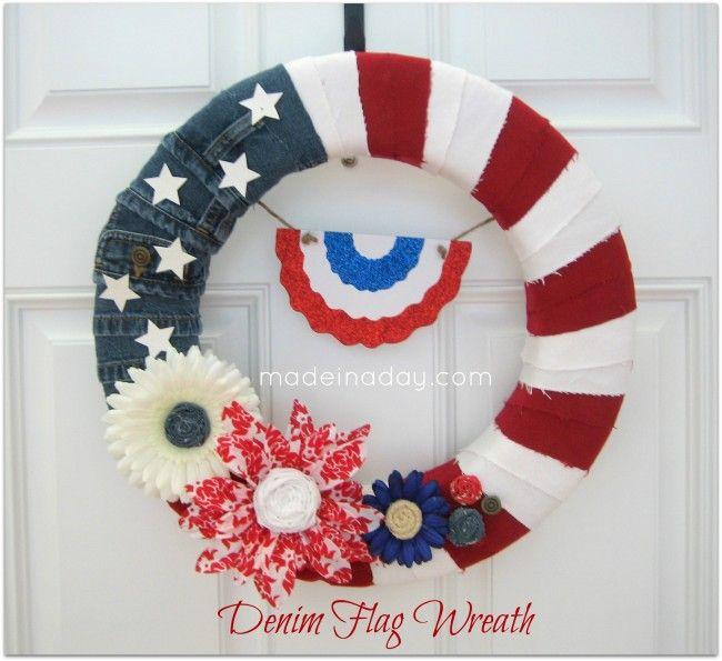 Denim Flag Wreath for 4th of July!