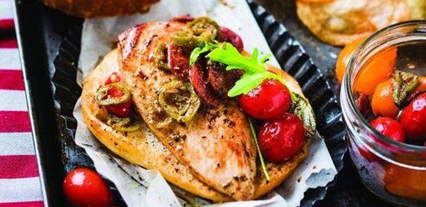 Peri-peri chicken and chorizo burgers