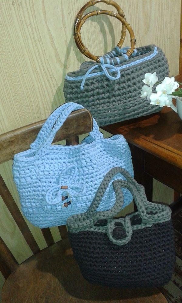 borsa in fettuccia di lycra fatta a mano/handmade bag