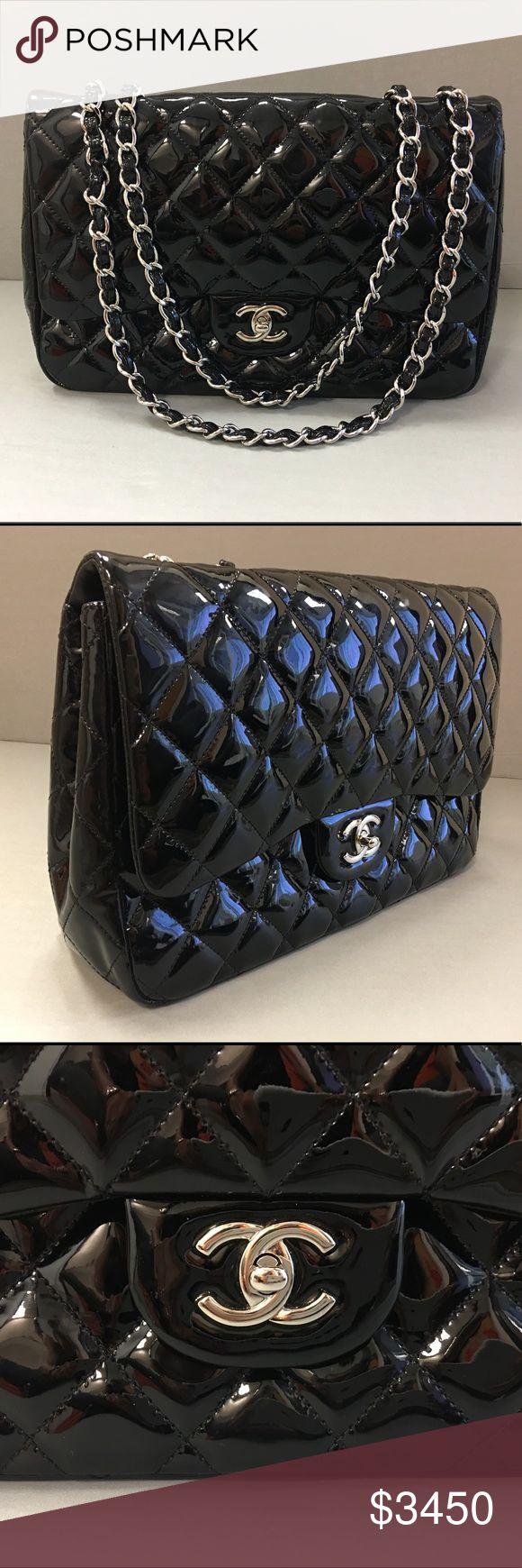 Chanel handbag superb vintage chanel bag vintage leather - Chanel Classic Jumbo Bag Black Patent Leather