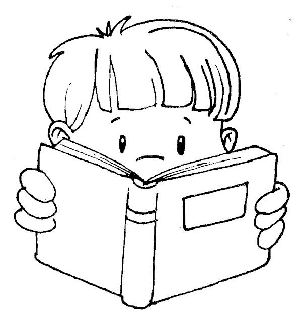 Cute clip art of kids reading