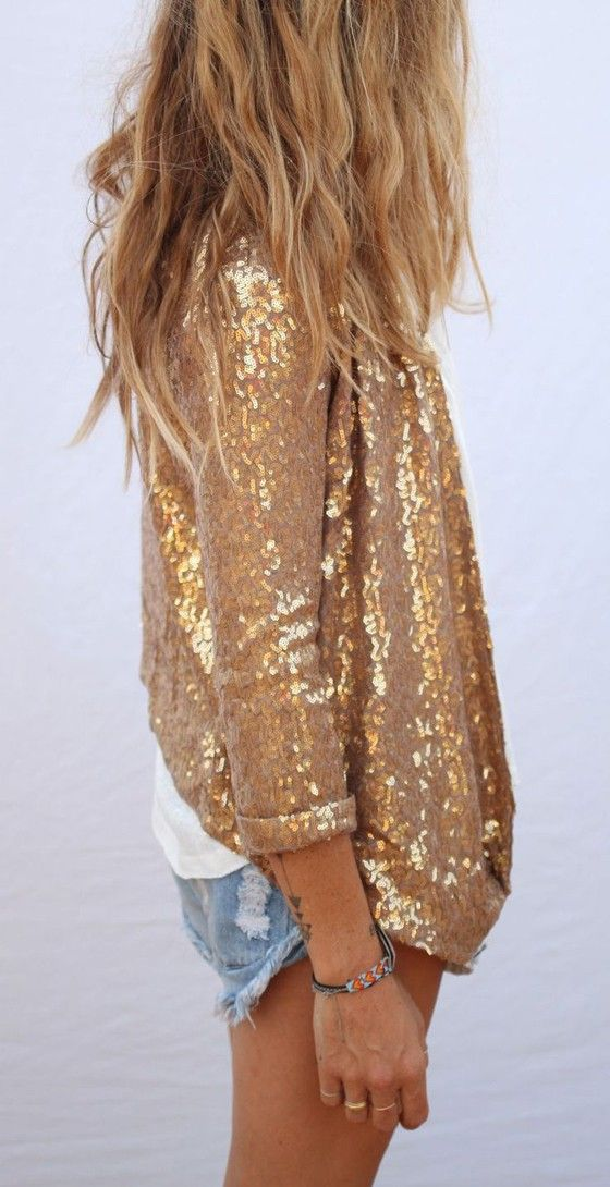 Golden Plain Shining Sequin Jacket  Long Sleeve Fashion