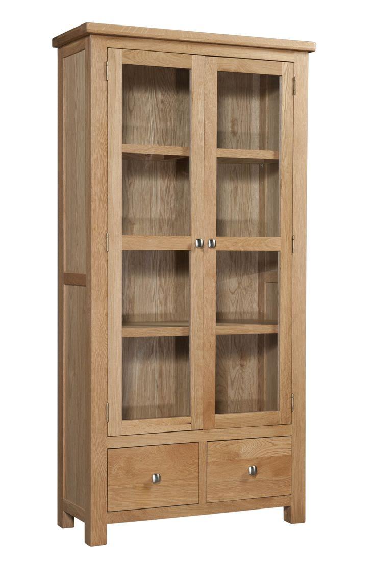 Oak Display Cabinet With Glass Doors