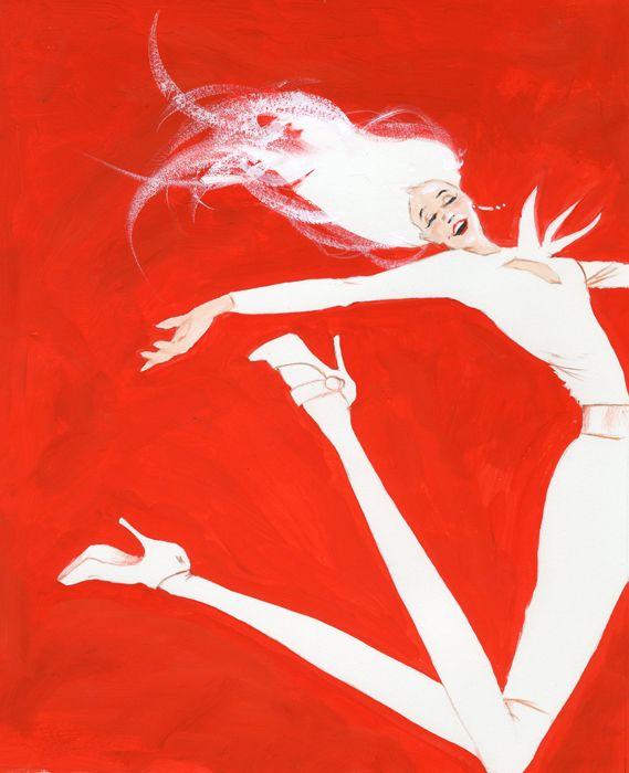 jumping woman fashion illustration by Robert Wagt #robertwagt