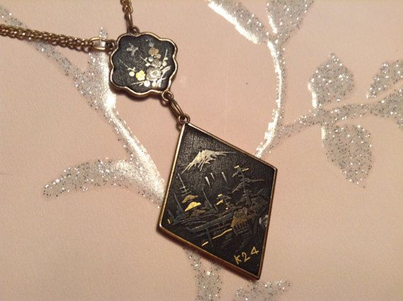 Vintage Damascene Japanese Necklace, Pendant,  24kt Gold Plated, 1930s, Art Deco