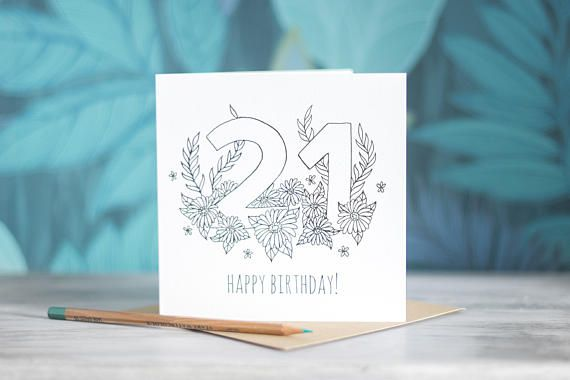 Colour-In Number/Age Birthday Card - 21 by PaperVeilStationery now at https://ift.tt/2HgMaUu