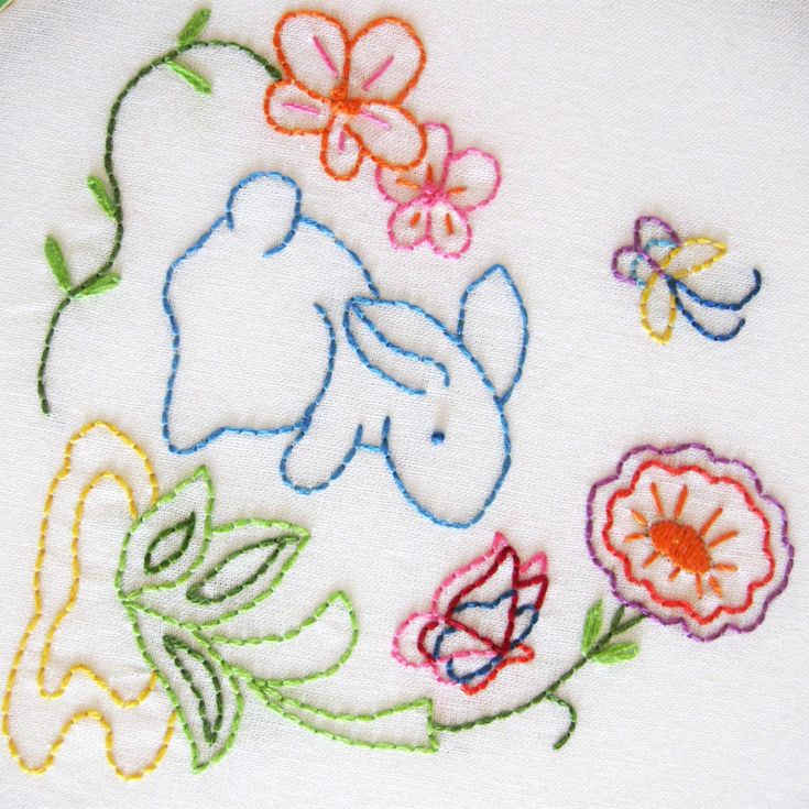 Bunny Rabbit Easter Embroidery Wall Art Linen Hoop Art Butterfly Aqua Coral Lime Yellow Pink. Via Etsy.
