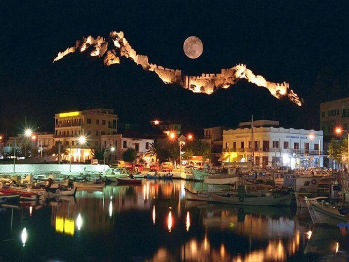 Lemnos, Greece. View of the illuminated castle.
