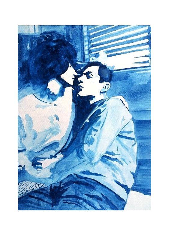 POSTER COPPIA in BLU da dipinto in di BIANCONIwatercolors