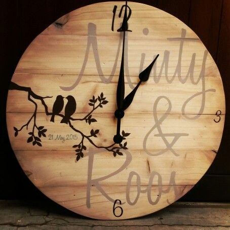 Wooden clock made for a couple with the coolest surnames!
