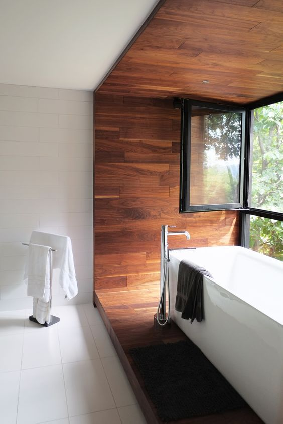 Love the bathroom extension in a contrasting texture.