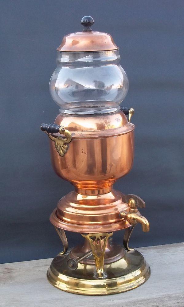 Antique  Manning, Bowman & Co. Pat Nov.8, 1904.  Victorian Kerosene Copper & Brass Coffee Maker.