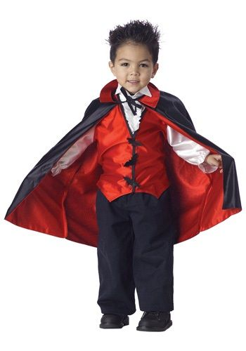 In this Toddler Vampire Costume, your tyke can be the scariest creature at his Halloween party! Add a vampire wig and teeth to complete the look.