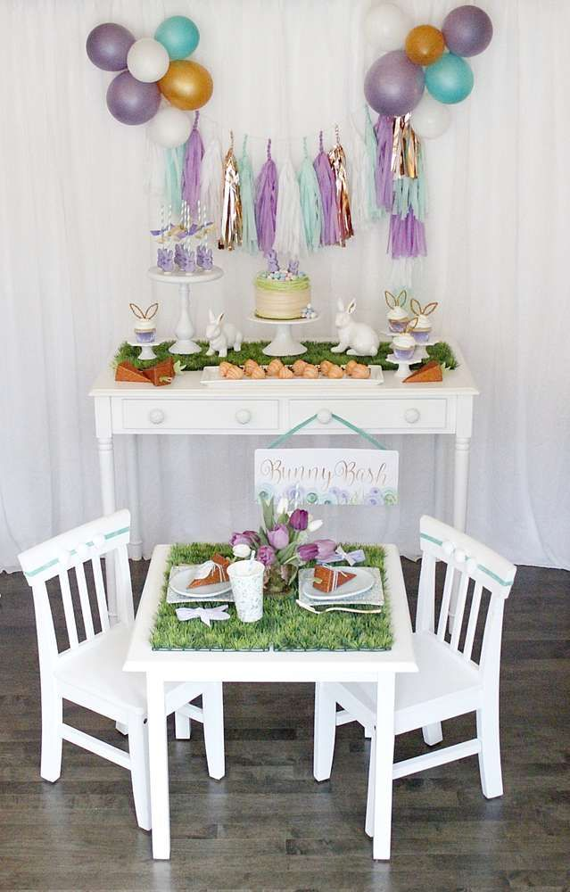 What a cute and adorable Kids Easter Party!! The dessert table and table settings are gorgeous!! See more party ideas and share yours at CatchMyParty.com
