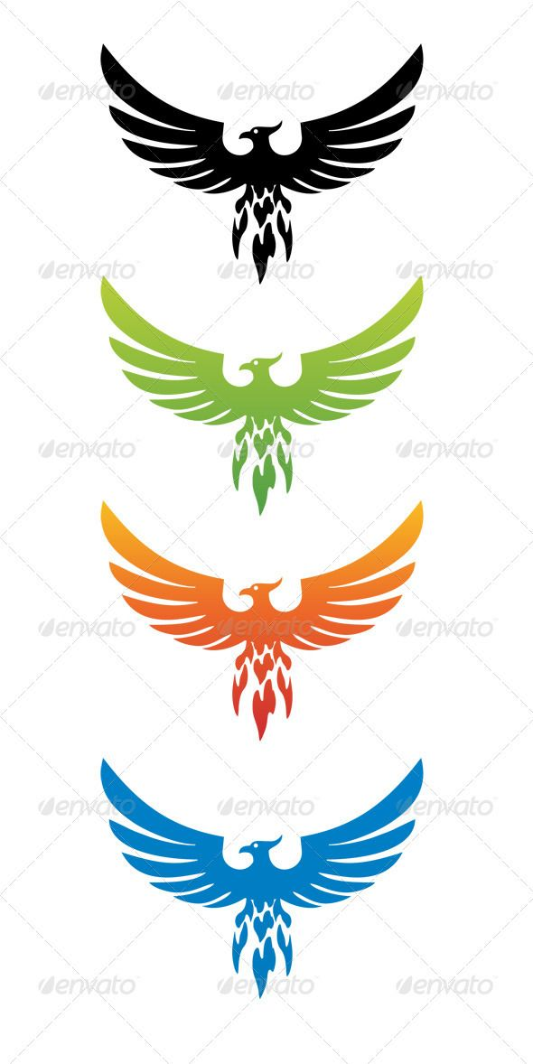 Phoenix Bird Clip Art | Four versions of phoenix bird. The phoenix has long been presented as ...