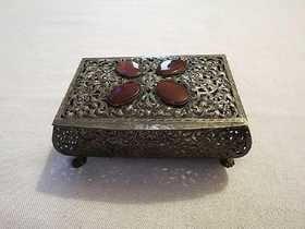 Antique 800 Silver Casket Box w/ Carnelian Gemstones
