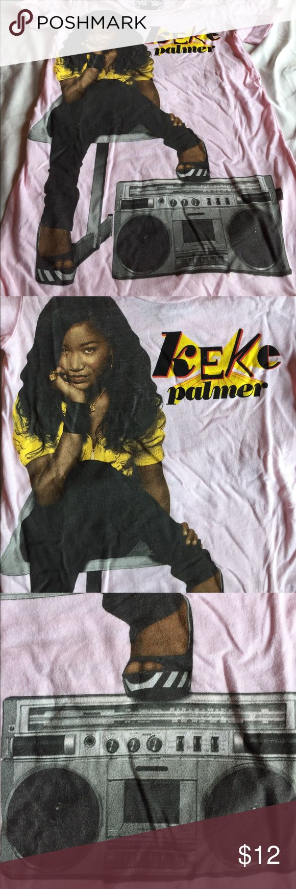 KEKE PALMER TOUR T- never worn Pink and yellow, soft and fitting. Tour dates on back chaser Tops Tees - Short Sleeve