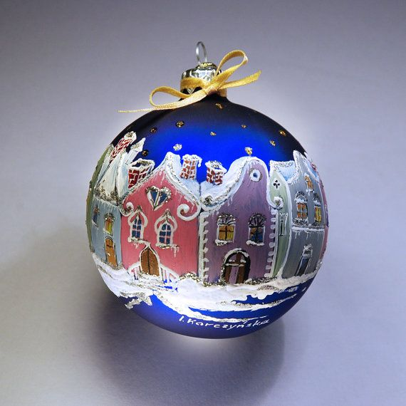 Hand painted glass christmas bauble glass christmas for Christmas glass painting