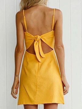 Shop Yellow Bow Tie Back Cami A-Line Mini Dress from choies.com .Free shipping Worldwide.$26.99