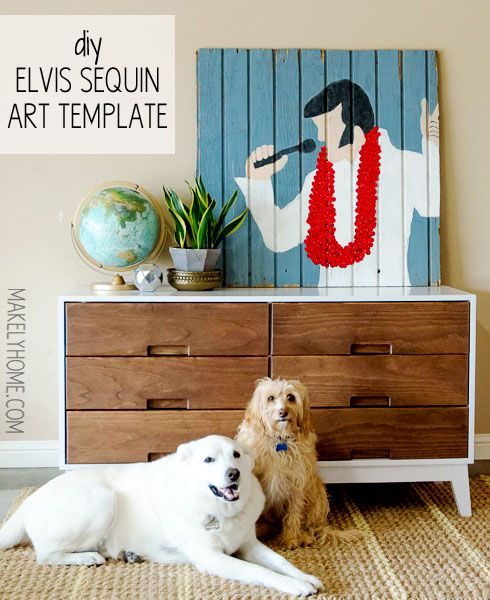 DIY Elvis sequin art tutorial with template via MakelyHome.com