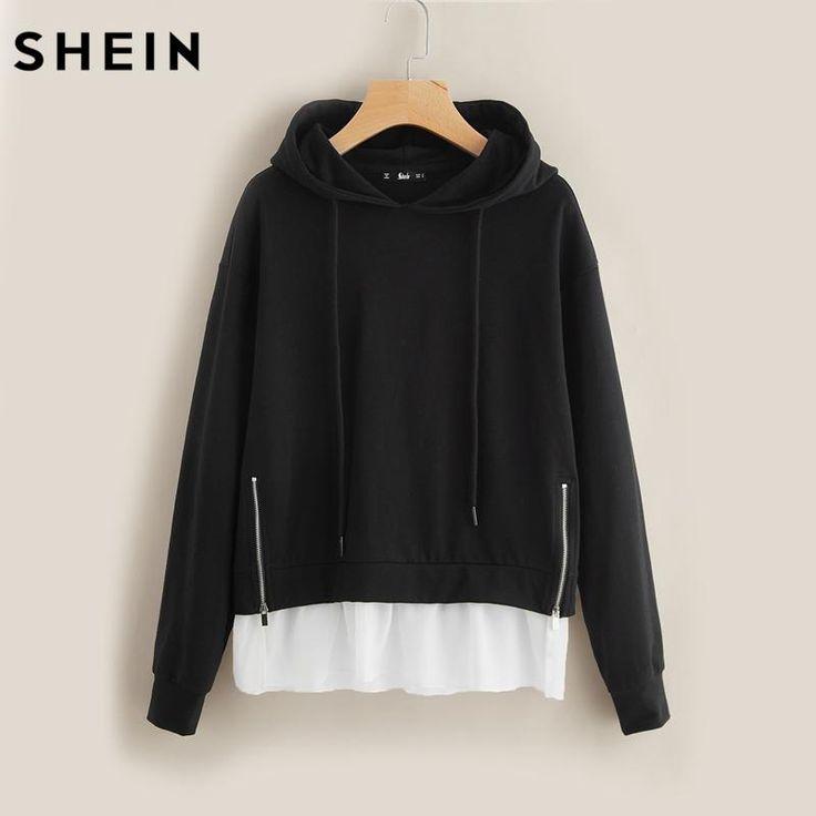 Women Hoodies Sweatshirts O-neck Dual Zip Front Hoodie Black and White Long Sleeve Casual Pullovers