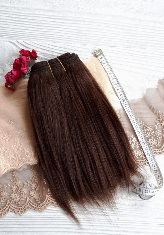 Mohair weft straight dark brown hair, doll hair, wefted mohair, dollmaking