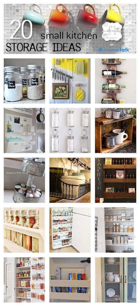 Organization ideas - 20 clever small kitchen storage ideas.