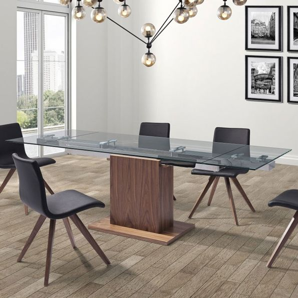 Ping contemporary extension table glass walnut base collectic home extendable dining