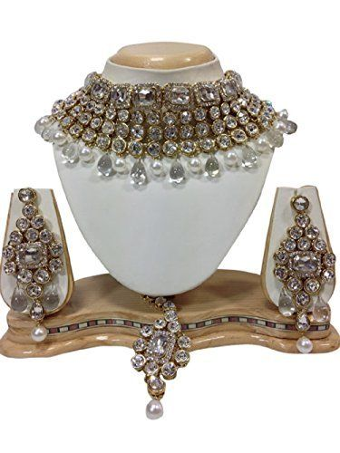 Elegant Indian Bollywood Kundan Gold Plated Party Wear Bridal Necklace Set By Ddivaa Ddivaa, http://www.amazon.com/dp/B01N35I7G4/ref=cm_sw_r_pi_dp_x_yx0BzbANVB6R5