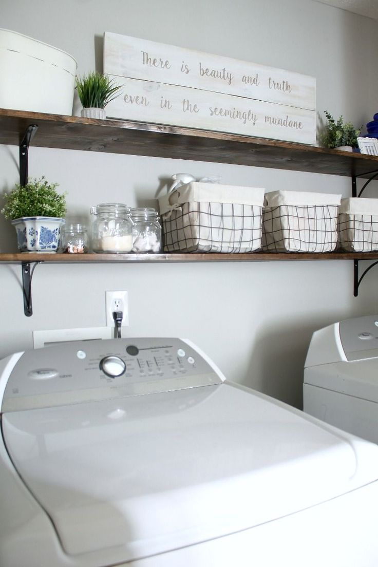 The easiest tutorial for DIY Laundry Room shelves! These inexpensive shelves instantly give your laundry room to that amazing fixer upper farmhouse style!