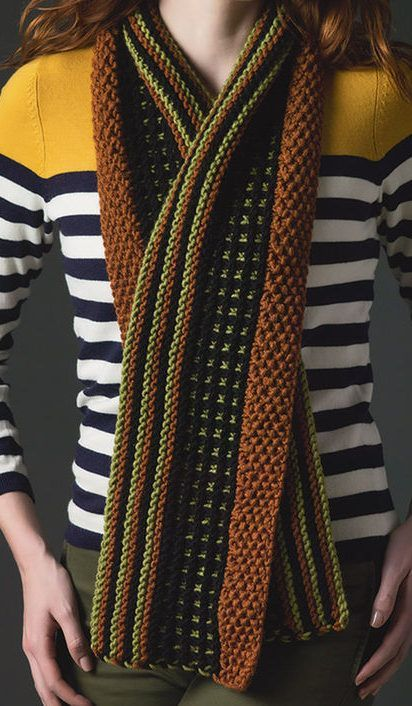 Free Knitting Pattern for Stripes and Check Scarf - This striking ...